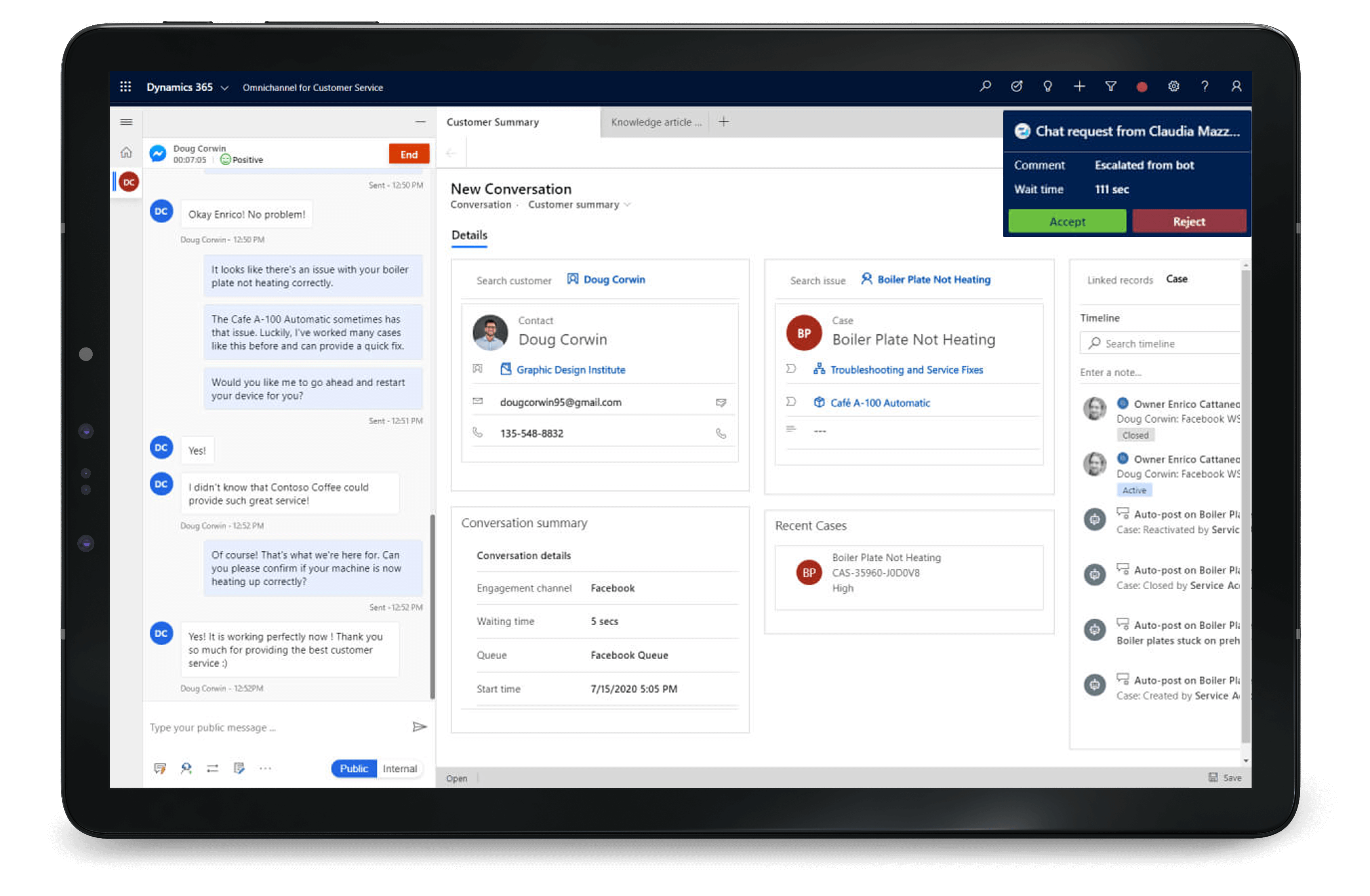 Dynamics 365 Customer Service to handle daily routine requests