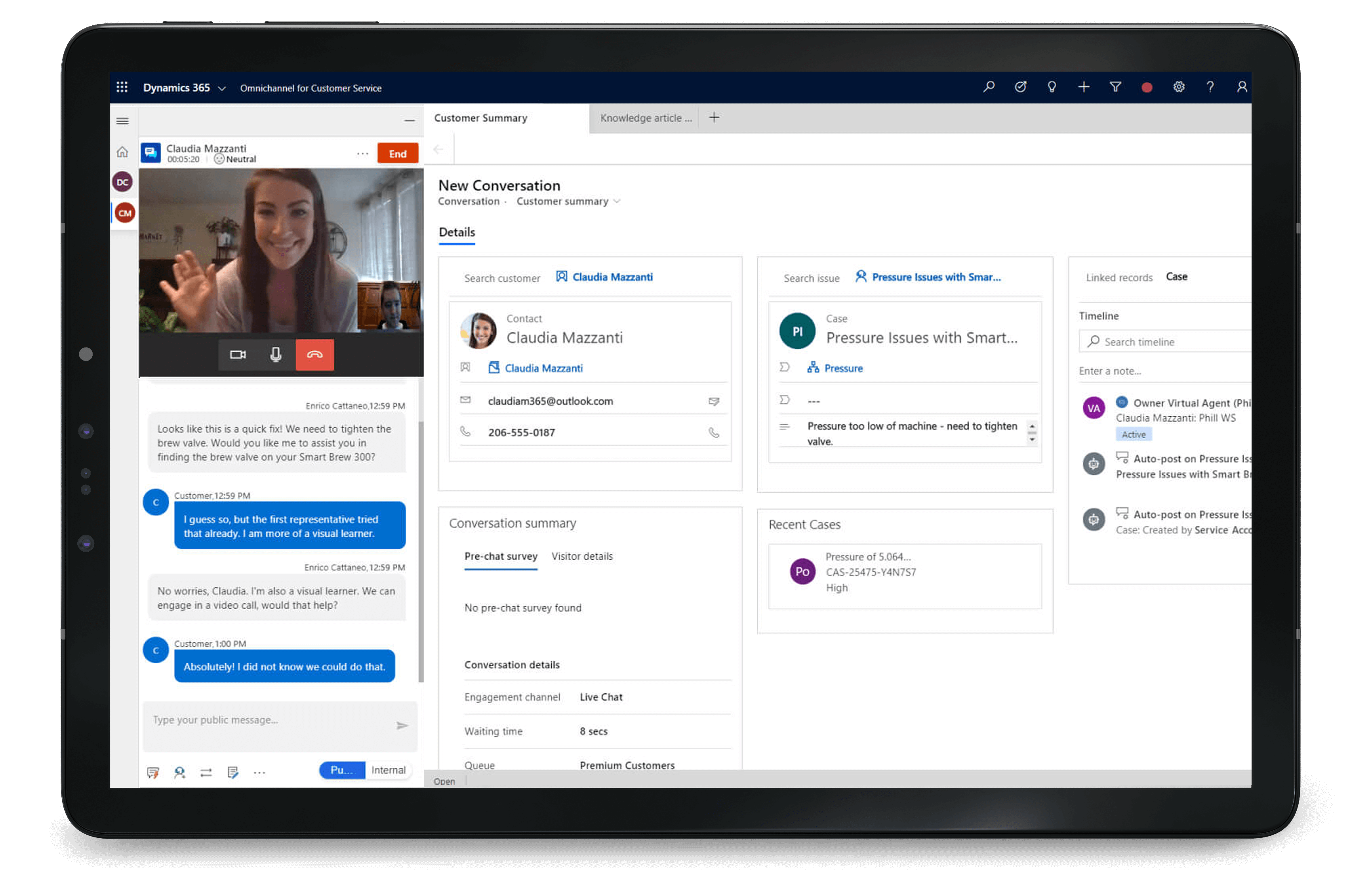 Dynamics 365 Customer Service allows you to interact with customers