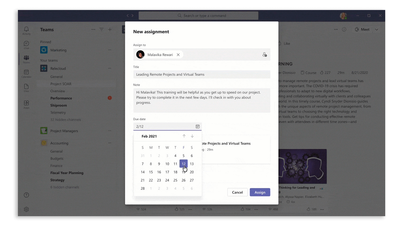 Assign learning content without leaving Microsoft Teams in Viva Learning