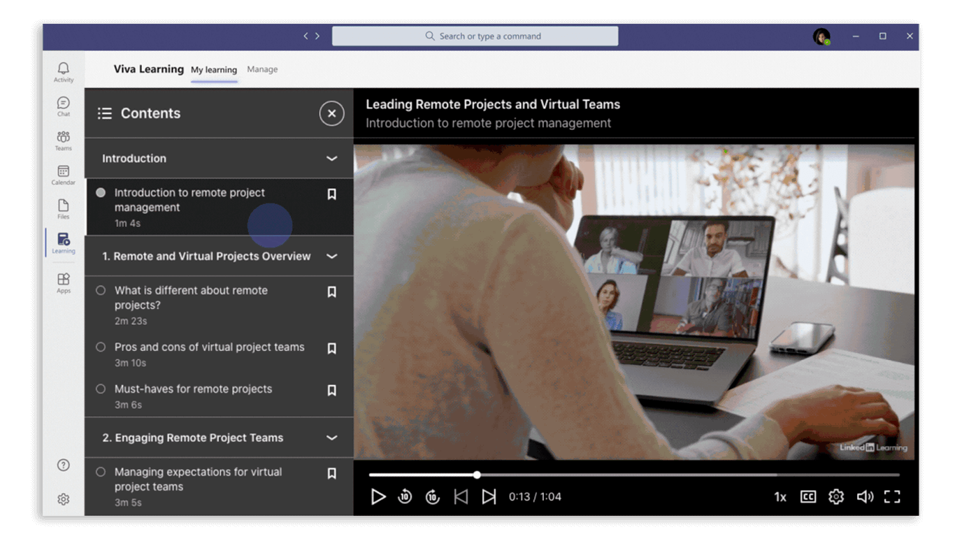 Play LinkedIn Learning courses in Viva Learning